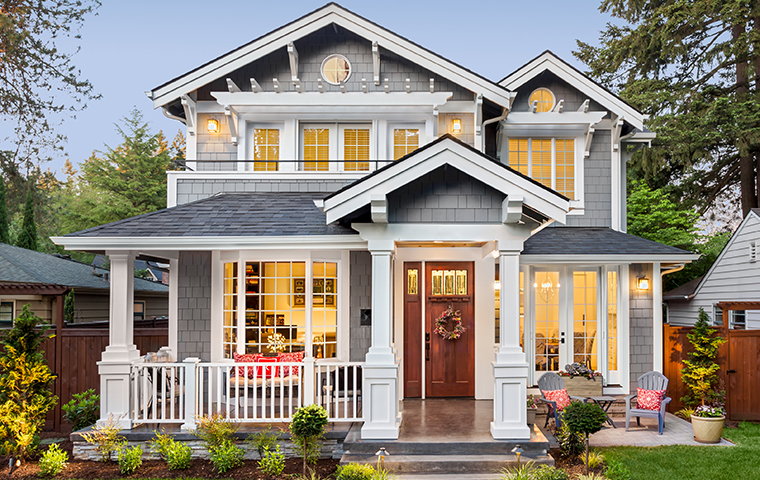 front view of a grey home in eureka california