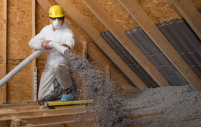attic insulation installation at a home in boca raton florida