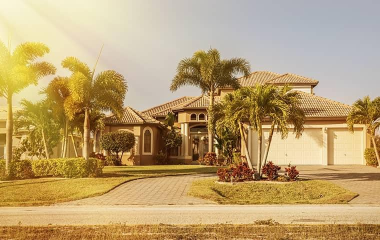 sun shining on beautiful florida home