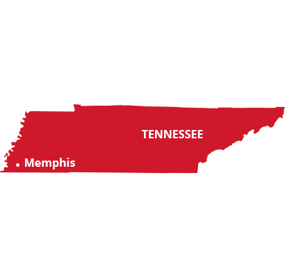 where we service map of tennessee featuring memphis