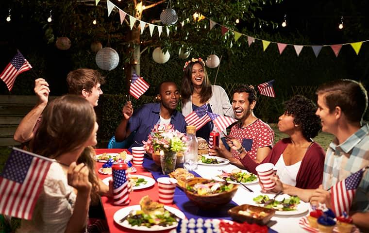 a large pest free party of family and friends gathered in a greenville back yard the night of the fourth of july