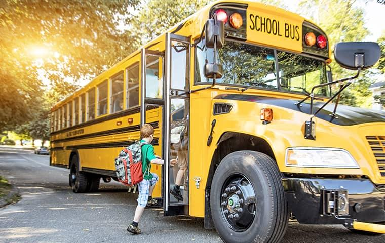 a child in greenville is boarding a big yellow school bus full of students un knowingly spreading bed bugs to their class mates on the first day of school