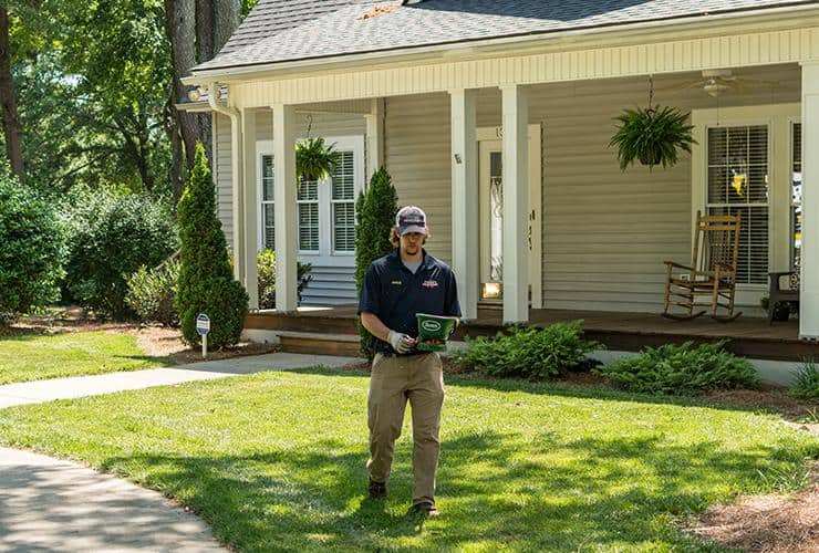 service professional treating greenville yard for fire ants
