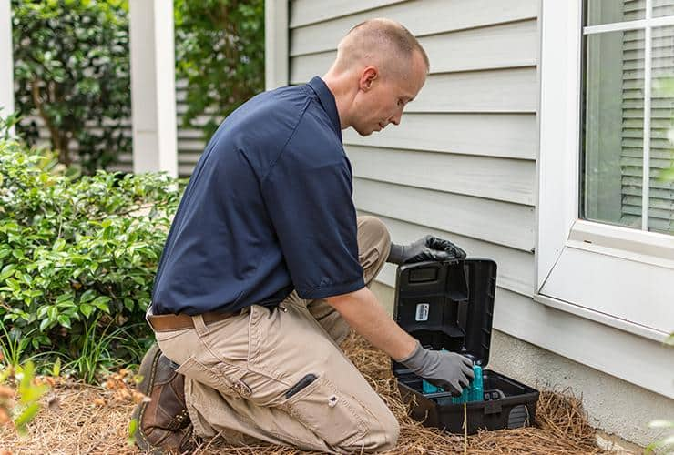 greenville rodent control specialist checking rodent station