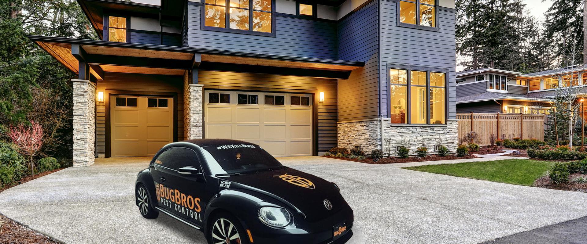 bug bros bug car by a house