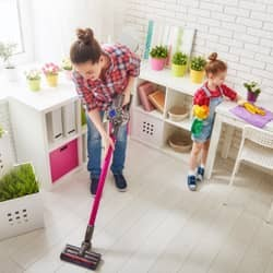 mother and daughter spring cleaning