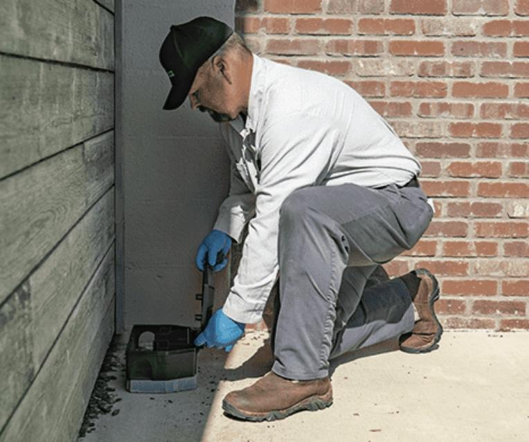 tyler tx pest control pro checking rodent bait station