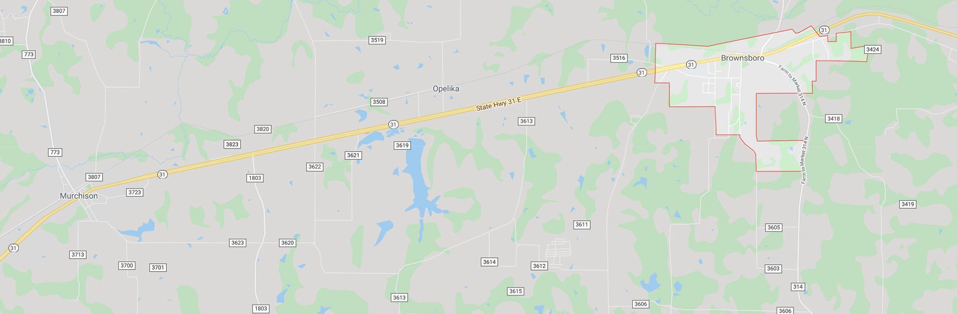a map of brownsboro texas