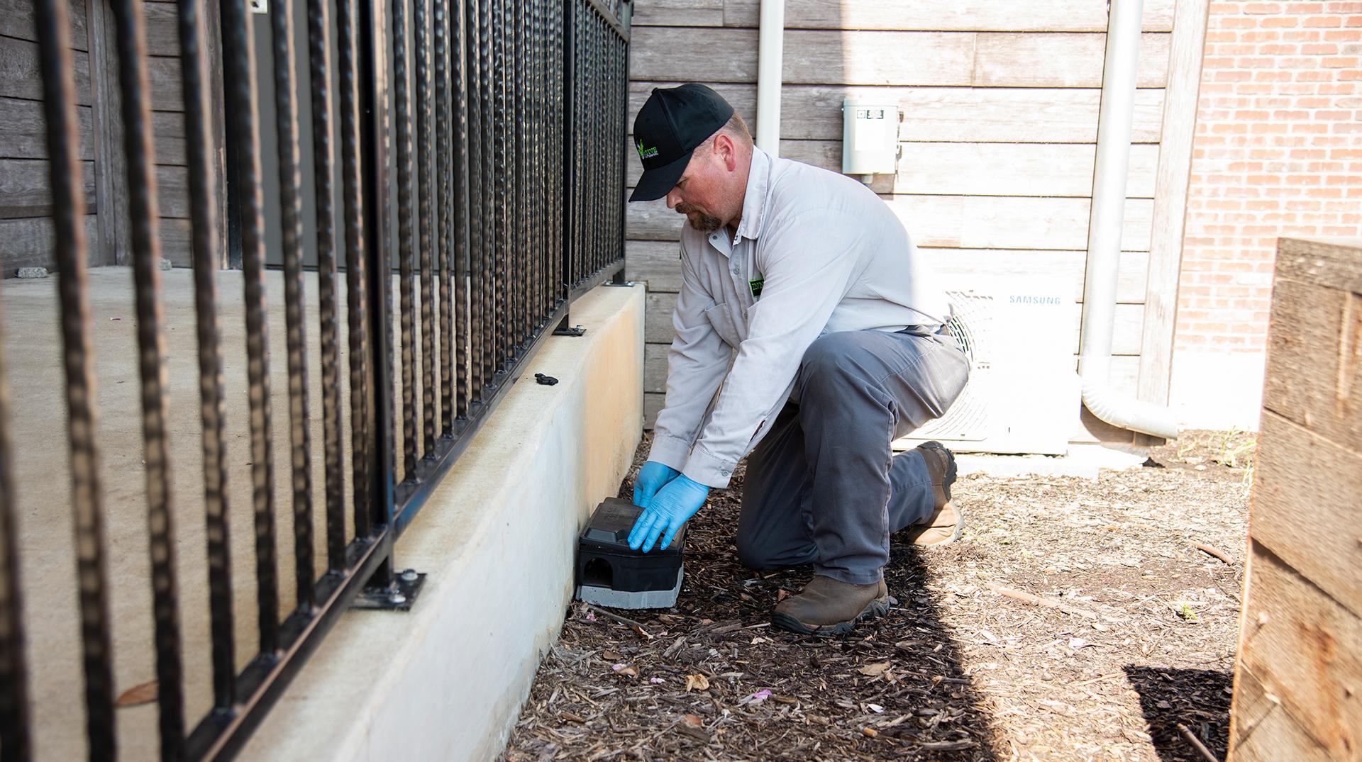 pest control technician servicing rodent bait box