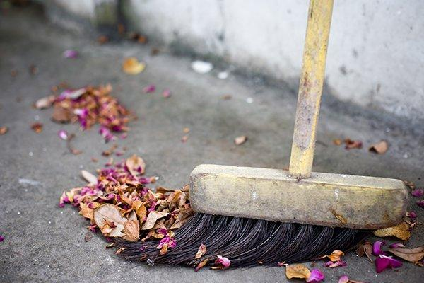 leaves being swept up