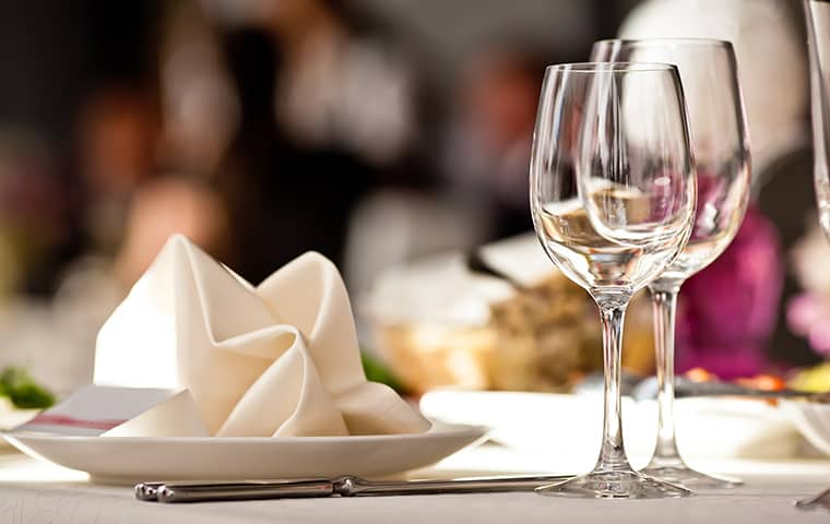 a restaurant table setting in baker florida
