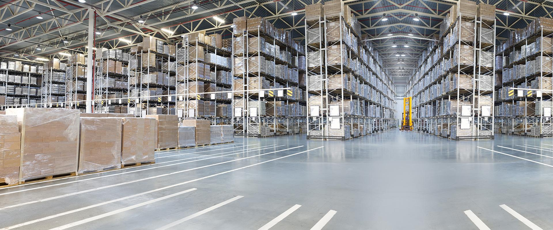 inside a large commercial storage building
