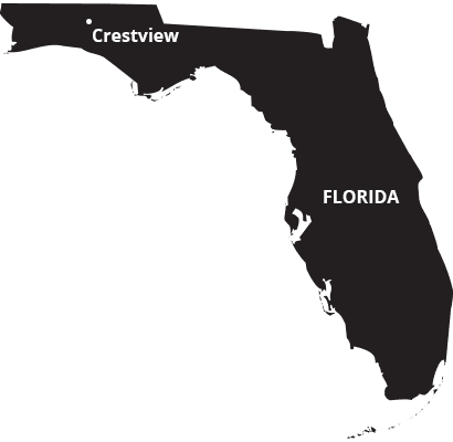 where we service map of florida featuring crestview