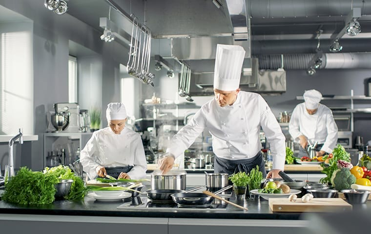 a chef and restaurant workers cooking in a restaurant kitchen in baton rouge louisiana