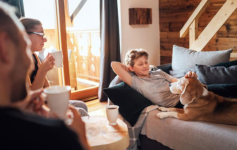 family having morning coffee
