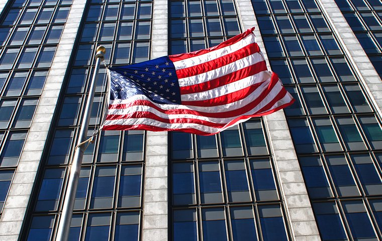 an american flag on a government building