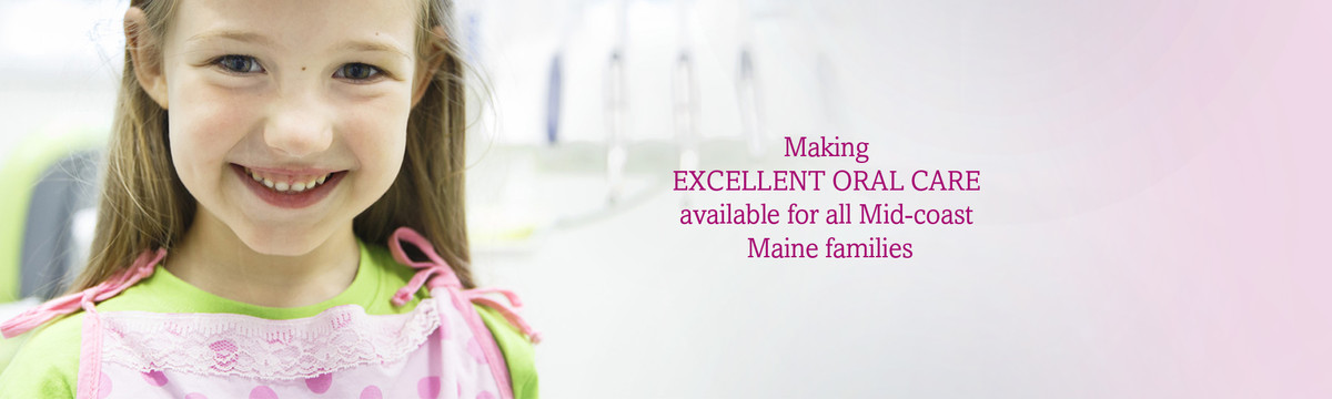 A young girl smiles. We make excellent oral care available and affordable for all Mid-coast Maine families.
