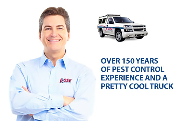 rose technician, rose truck headline - Over 150 years of pest control experience
