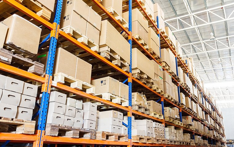 warehouse with shelves stacked high with boxes