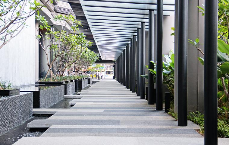 exterior walkway of commercial building
