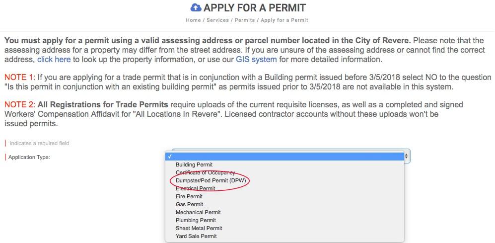 Dumpster permit type