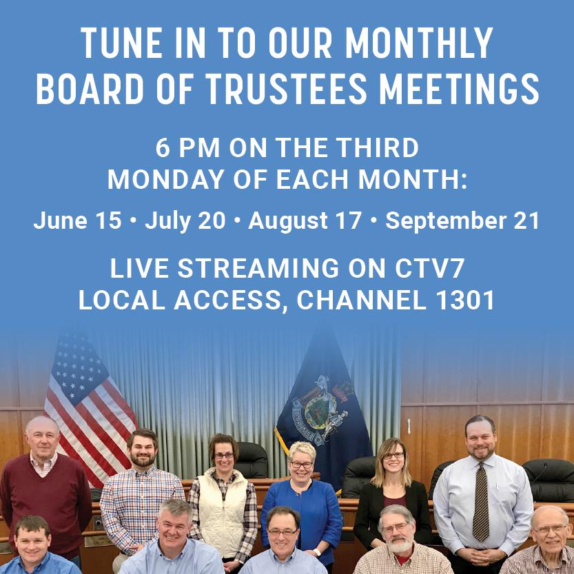Board of trustees meeting banner