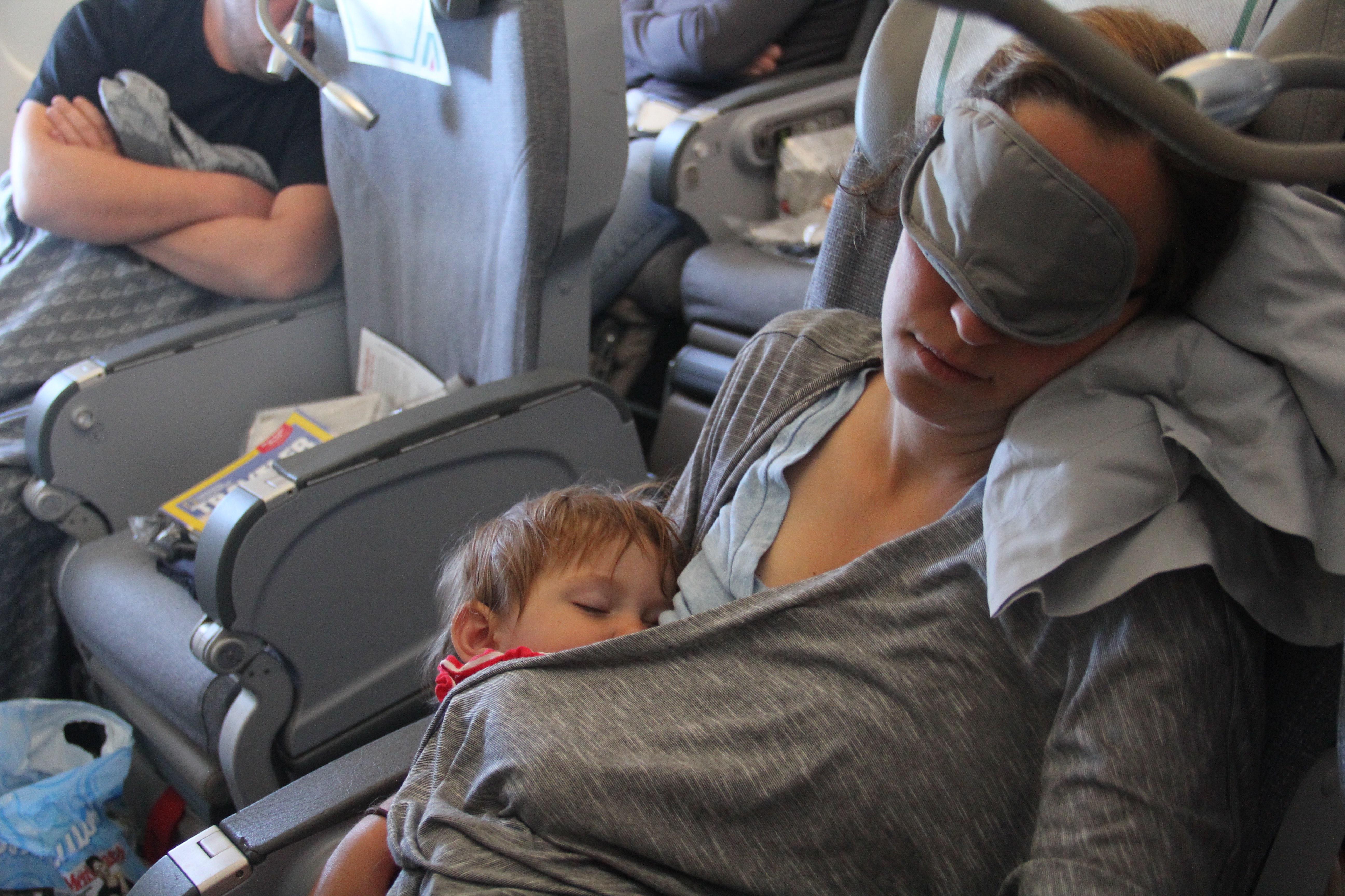 sleeping on the airplane