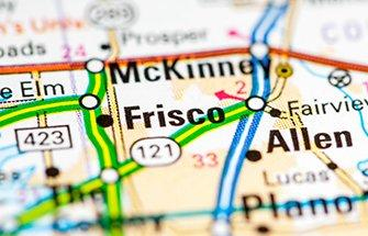 a map featuring frisco and several cities in texas