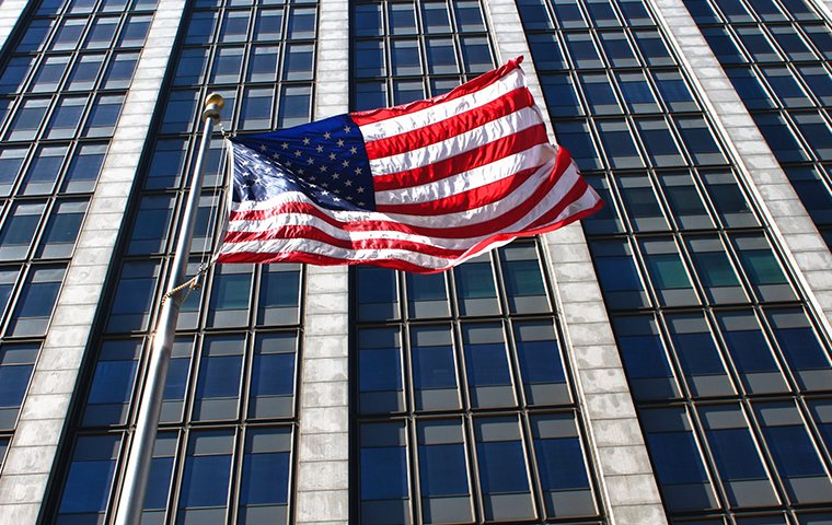 a large government building with an american flag