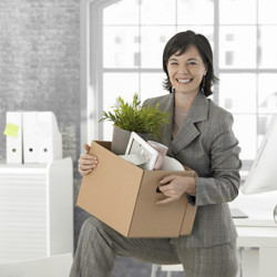 woman getting ready to move her office