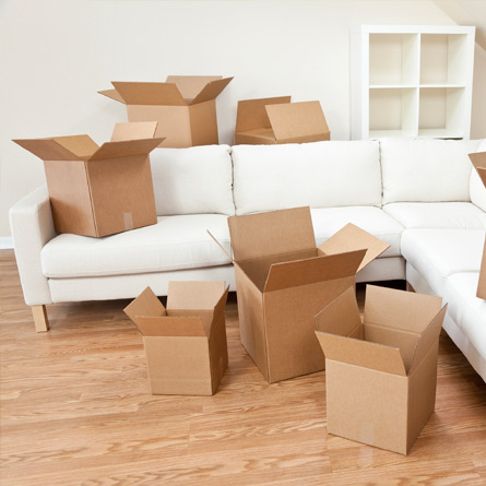 living room being packed for moving