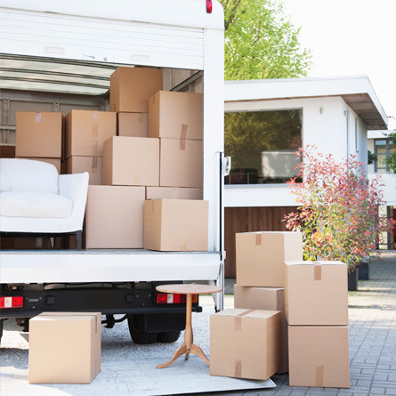 moving truck with boxes and furniture