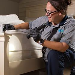 a professional pest control technician from moyer pest control in inspecting a resedential mattress inside of a new castle deleware home