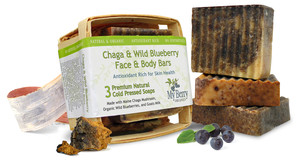 chaga and wild blueberry face and body bars made locally in maine