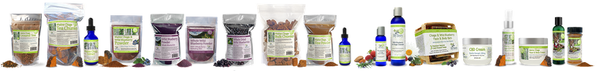 organic chaga, blueberry and cranberry products made by my berry organic