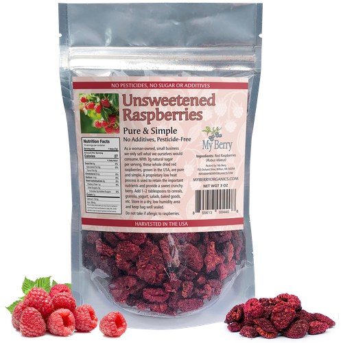 Unsweetened Dried Raspberries 3oz  *SOLD OUT until Next Harvest*