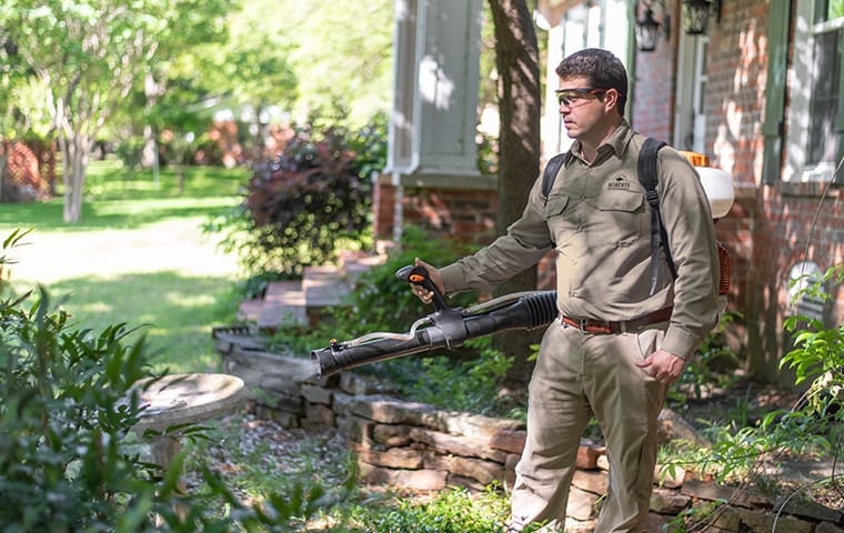 a pest technician performing a mosquito treatment outside of a home in cedar park texas