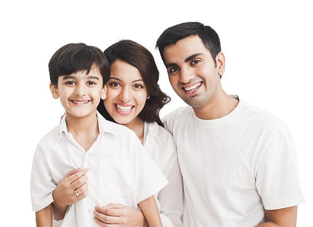 a happy family of three in austin texas