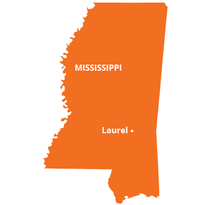 where we service map of mississippi featuring laurel