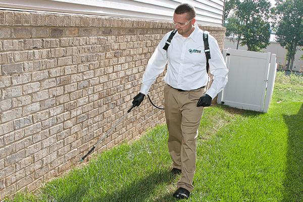 a technician spraying a brick wall outside of a christiansburg va home