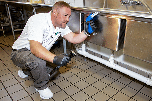 a technician treating the inside of a commercial kitchen