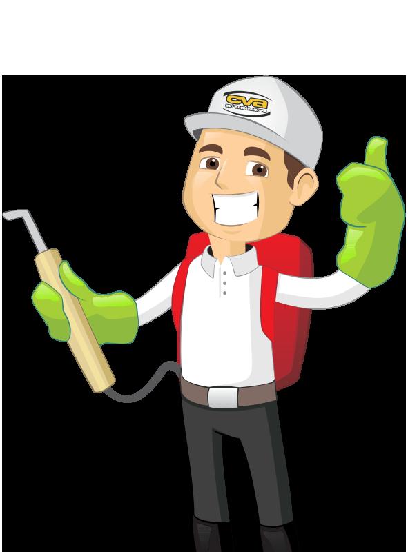a cartoon likeness of a pest control technician in santa clarita california