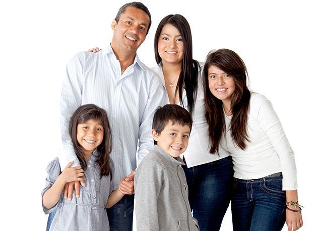 a happy family of four in santa clarita california