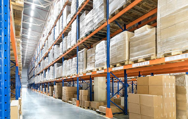 interior of a warehouse with stocked shelves in valencia california