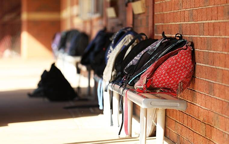 backpacks on a bench at school