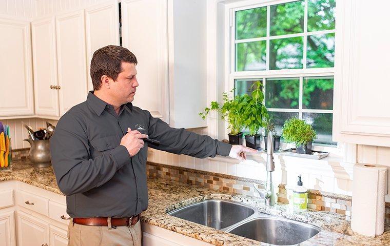roanoke va pest control expert inspecting for pests in kitchen