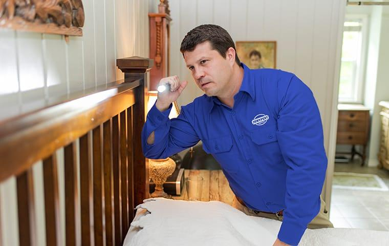 a pest technician inspecting a bed for bed bugs in a home in lexington south carolina