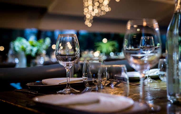 a set table in a restaurant in lexington south carolina