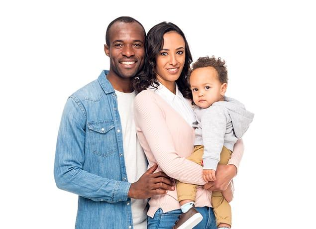 a happy family of three in columbia south carolina