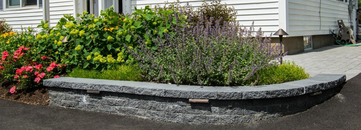 Retaining wall with softscaping
